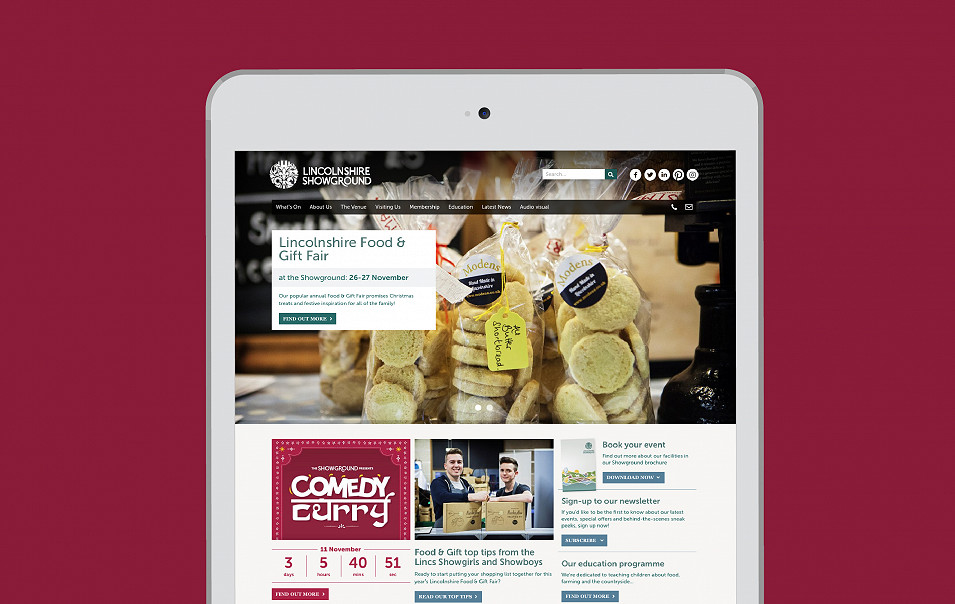 Lincolnshire Showground website design by Root Studio