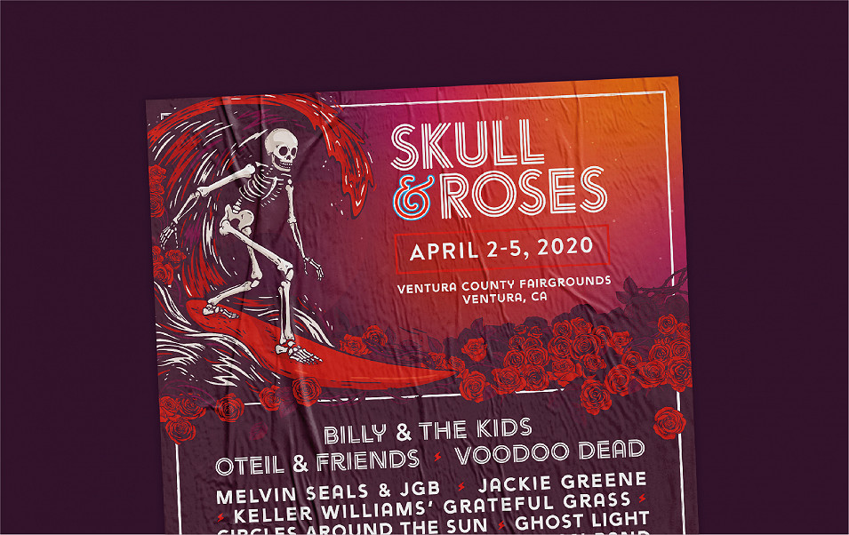 Skull and Roses festival poster design by Root Studio