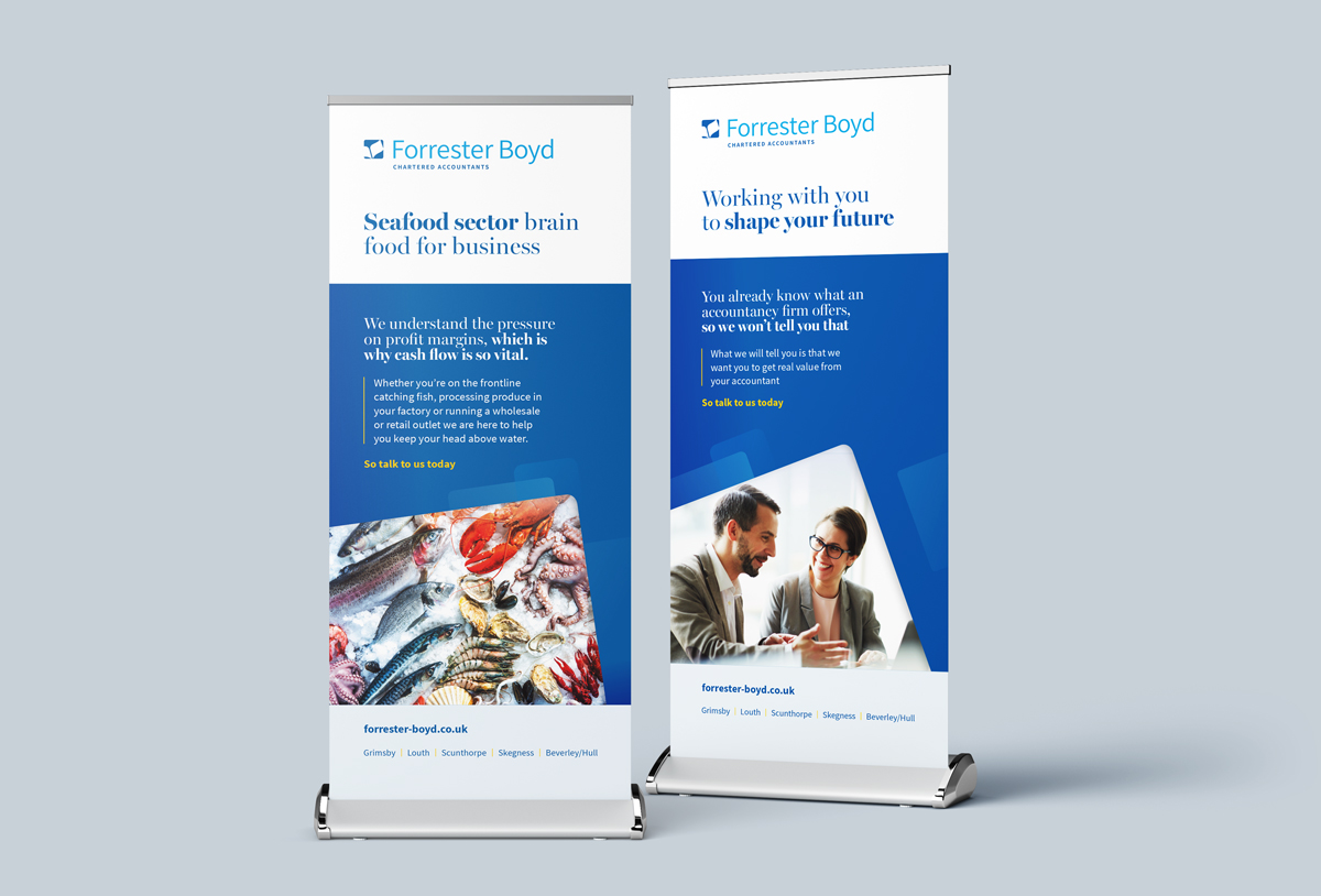 Forrester Boyd Pop up Banner designs accountancy firm by root studio