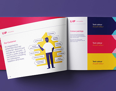 Lincolnshire Housing Partnership Brand Guidelines document design by Root Studio
