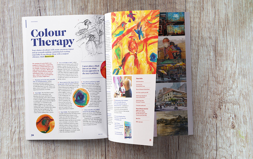 SAA Paint Magazine design, colour therapy spread