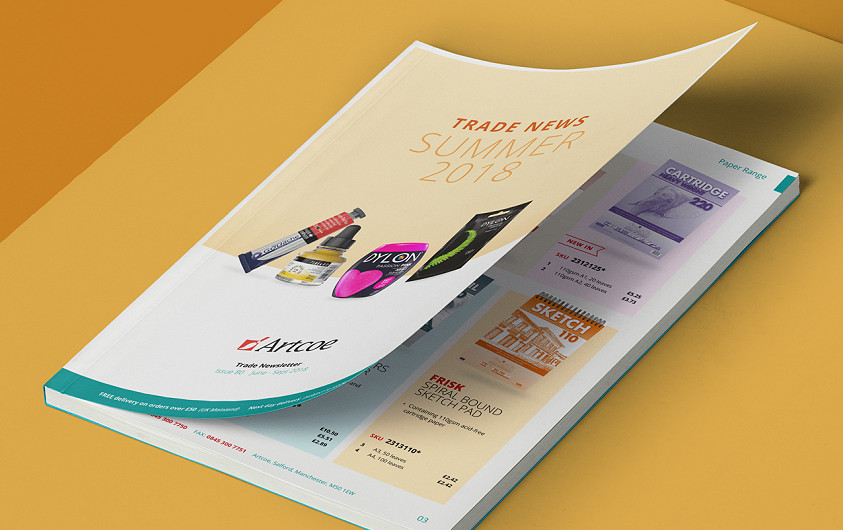 Product catalogue design for art materials