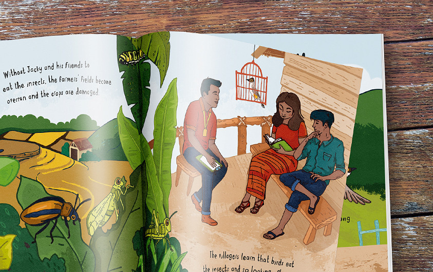 Chester Zoo Indonesian Songbird children's illustrated book design