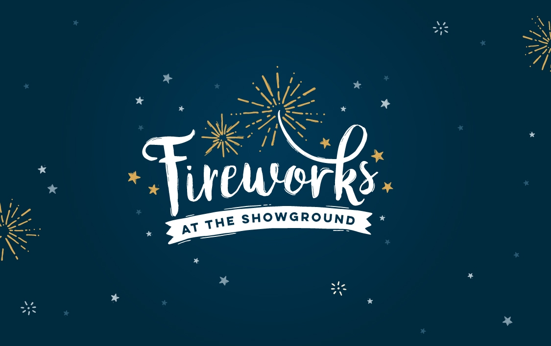 Fireworks at the Showground event branding by Root Studio