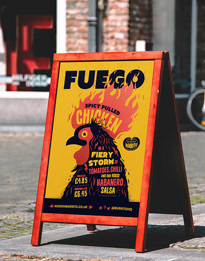 Mission Burrito Fuego chicken poster design