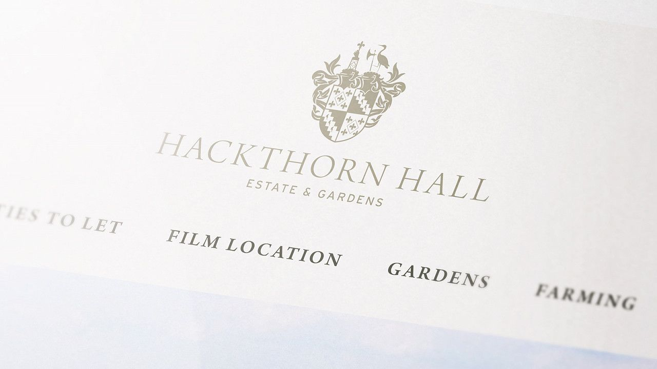 Hackthorn Hall family crest logo design