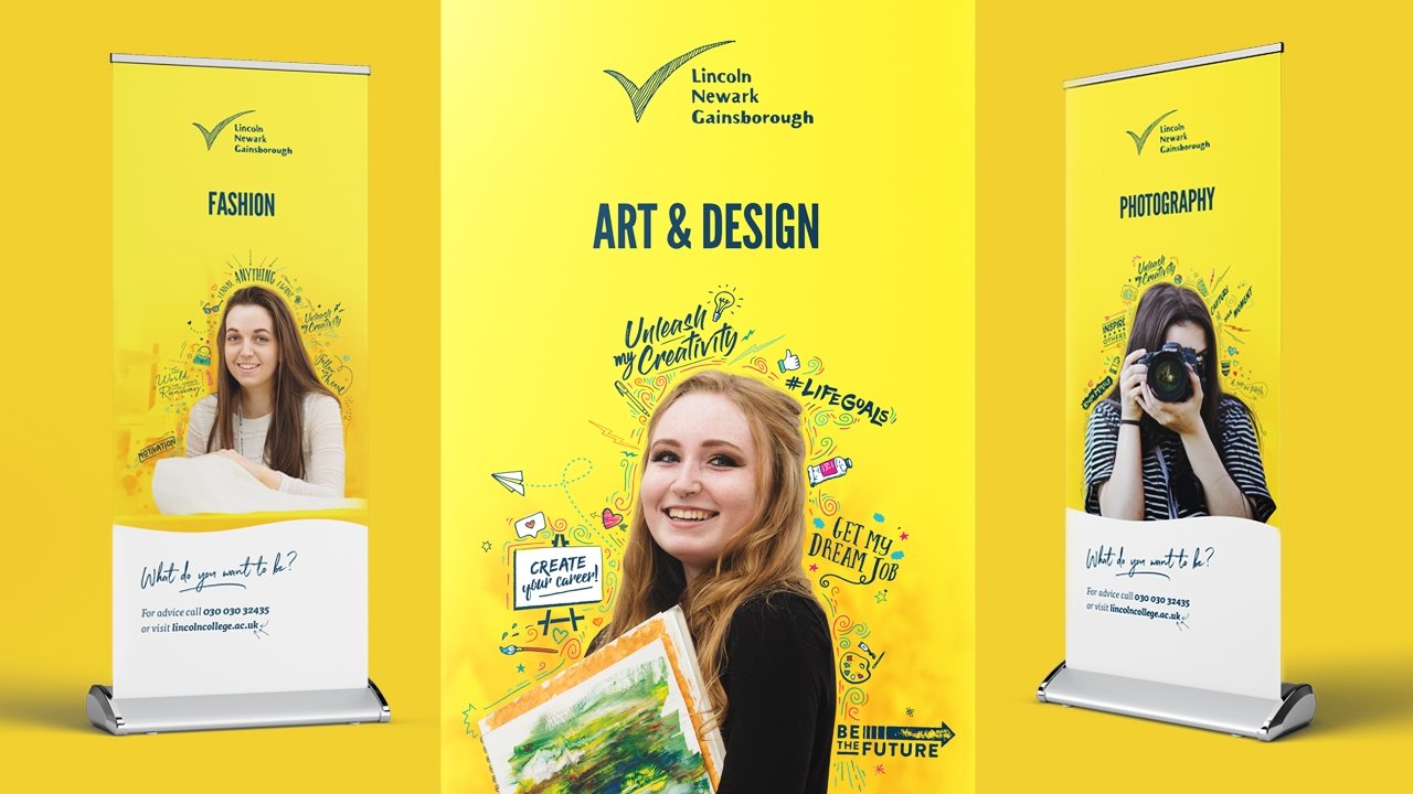 Lincoln College course pull-up banner designs