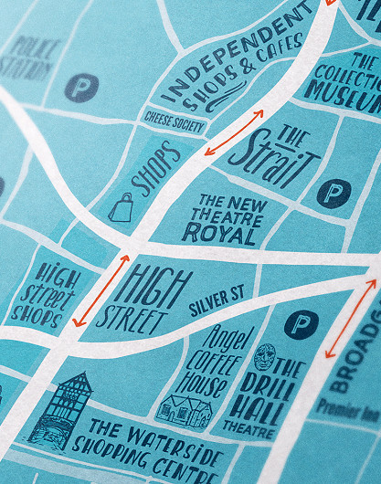 Lincoln college prospectus design illustrated map by root studio