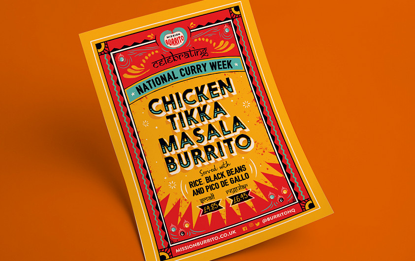 Mission Burrito chicken tikka masala flyer design