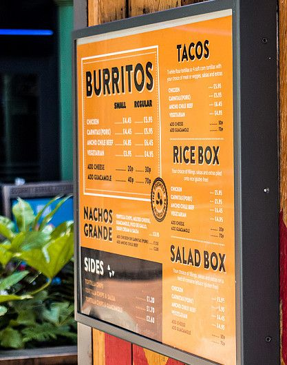 Mission Burrito outdoor menu design