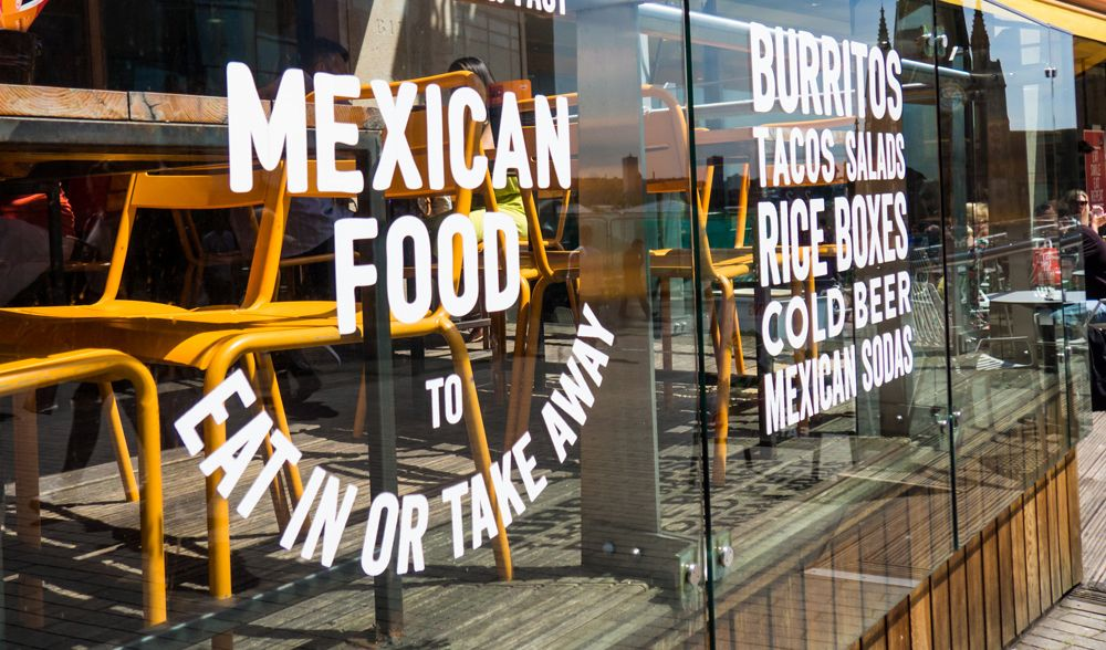Restaurant window graphic design Mexican Food