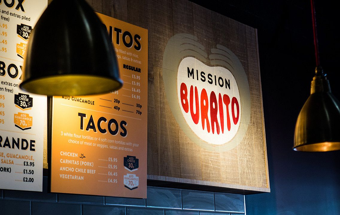 Mission Burrito wall mounted menu design