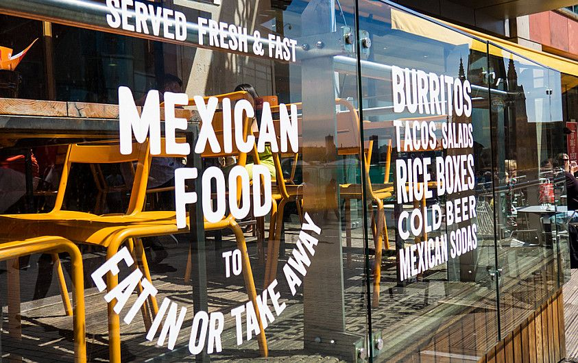 Mission Burrito window decal