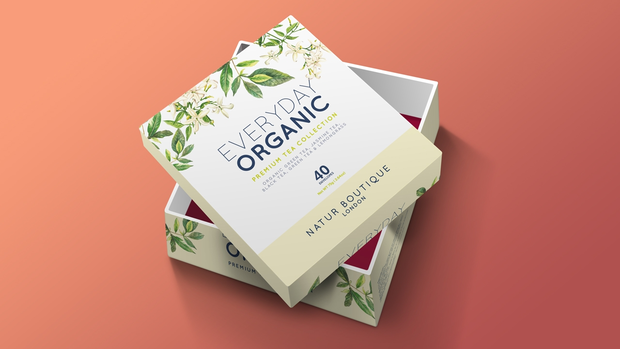 Nature Boutique tea floral packaging design