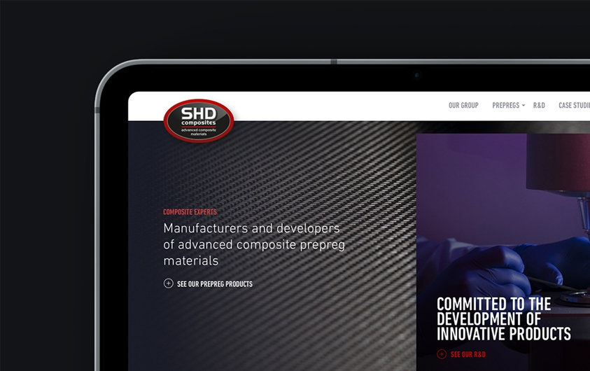 SHD Composites website design by Root Studio