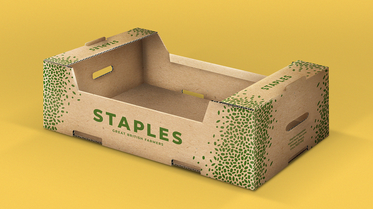 Staples vegetables box crate packaging design by root studio